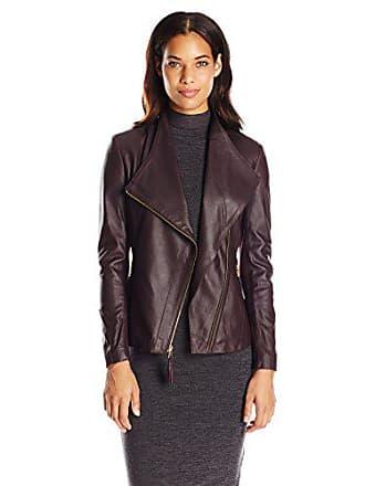 Via Spiga Womens Lightweight Leather Ponte Jacket, Bordeaux Red, X-Large