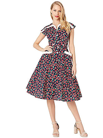 1f0a5c07a325 Unique Vintage 1950s Style Cap Sleeve Hedda Swing Dress (Black Watermelon  Print) Womens Dress