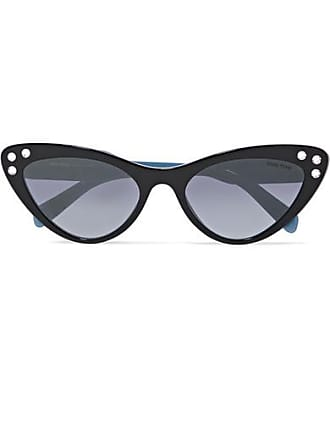 0c9d4808da Miu Miu Cat-eye Crystal-embellished Acetate Sunglasses - Black