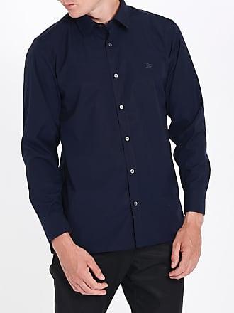 Burberry Chemise homme en popeline de coton extensible avec poignets à motif  check Bleu Burberry fcacf974f63