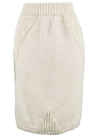 Claude Montana Vintage Chunky Thick Wool Cream Cable Knit Pencil Skirt ace964dcb