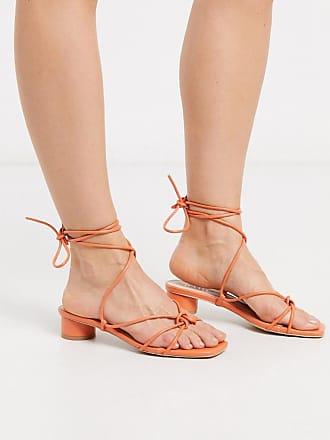 Raid Isobel - Sandali corallo con tacco e laccetti alla caviglia-Arancione