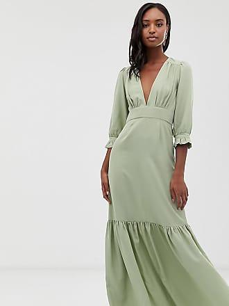 870390b97f Asos Tall ASOS DESIGN Tall plunge tea maxi dress with pep hem