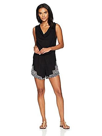 La Blanca Womens Sleeveless Romper Cover Up Dress, Black/Cabana Crochet Print, Extra Small