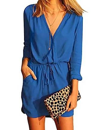 39b8e32c3699b5 Yoins Jumpsuit Damen Elegant V-Ausschnitt Sexy Kleid Langarm Overall  Einteiler Damen mit Bindegürtel Kleid