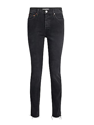 Re/Done Double Needle Long Frayed High-rise Jeans Black