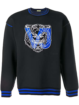 Versace Jeans Couture striped rib neck tiger sweatshirt - Black