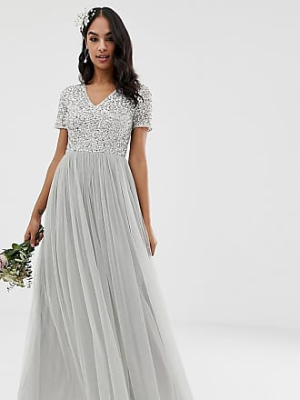 Maya Bridesmaid v neck maxi tulle dress with tonal delicate sequins in soft grey