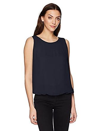 Max Studio Womens Solid Sleeveless Bubble Top with Pleat Detail, Dark Navy, L