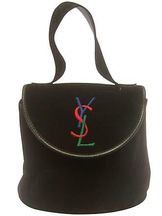 78543912624 Saint Laurent Chic Black Suede Ysl Embroidered Handbag C 1990s