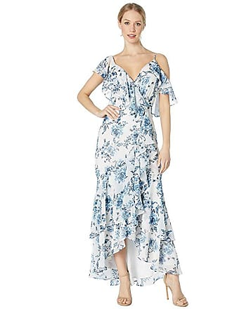 7ec80022b0 Wayf The Elanor Cap Sleeve Wrap Maxi Gown (Blue Toile Floral) Womens Dress