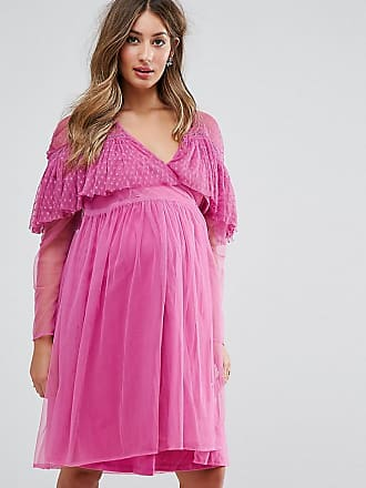 Asos Maternity Vestito a portafoglio in tessuto a rete con volant a pallini  - Rosa 4fd974c524c