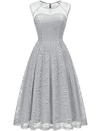 64eff761c33569 Bbonlinedress Damen Elegant Vintage Vokuhila Rundhals aus Spitzen Ärmellos  Cocktail Ballkleid Grey S