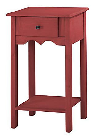 Manhattan Comfort Jay Collection Modern Wooden Accent End Table With One Drawer and One Shelf, Red