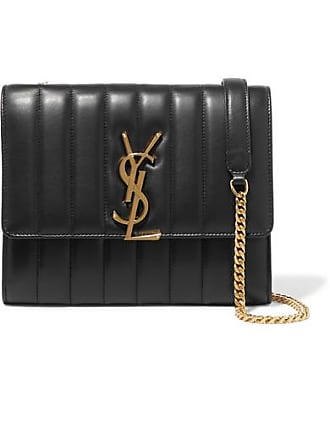 Saint Laurent Vicky Quilted Leather Shoulder Bag - Black