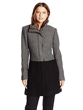 Jessica Simpson Womens Color Block Funnel Neck Wool Coat, Charcoal/Black, Large