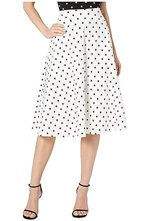 Unique Vintage Retro Style White Black Polka Dot High-Waisted Vivien Swing Skirt (White/Black Dot) Womens Skirt