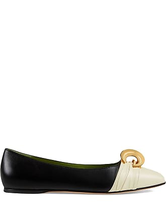 2cd4709d2ec Gucci Leather ballet flat with half moon GG - Black