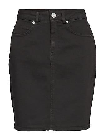 283f47c2fc6b Selected Slfkenna Hw Black Denim Skirt W Knälång Kjol Svart SELECTED FEMME