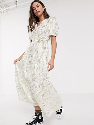 Résumé Resume - Tendora - Lange metallic jurk met paisleyprint in wit