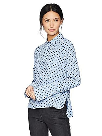 Equipment Womens Sandwashed Crepe De Chine Silk Huntley Blouse, Aerial Blue True Black, Small
