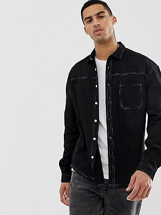 ee162a58d Asos Camisa con costuras multicolor en contraste en negro de ASOS DESIGN