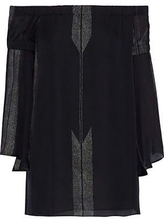 Halston Heritage Halston Heritage Woman Off-the-shoulder Printed Silk-chiffon Top Black Size 0