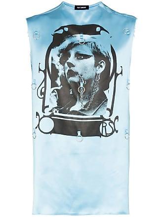 173032d123 Raf Simons Camiseta de cetim com estampa gráfica e aplicação - Azul