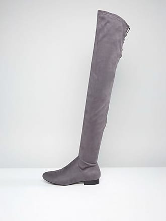 3e625af94f8 Asos ASOS KASBA Flat Over The Knee Boots - Grey