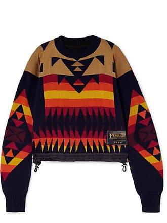 sacai + Pendleton Shell-trimmed Intarsia Cotton-blend Sweater - Navy