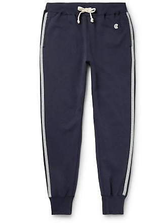 Kingsman + Todd Snyder + Champion Harrys Slim-fit Tapered Striped Cotton-blend Jersey Sweatpants - Navy