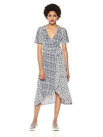 Lucky Brand Womens Flutter Sleeve Printed WRAP Dress, Navy Multi, S