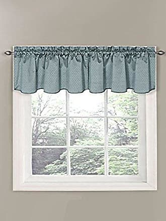 Eclipse Canova 42-Inch by 21-Inch Thermaback Blackout Scallop Valance, River Blue