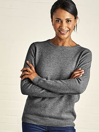 e5157ebe50 WoolOvers Womens Cashmere and Merino Crew Neck Knitted Jumper Charcoal