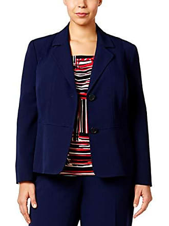 Kasper Womens Plus Size Two Button Jacket, Indigo, 18W
