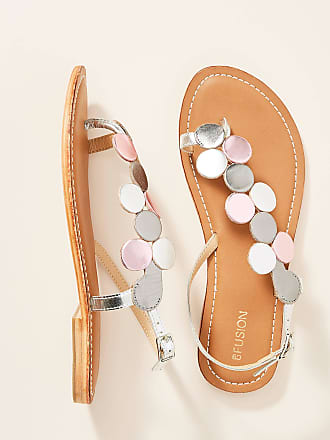 Coral Blue Metallic Leather Sandals