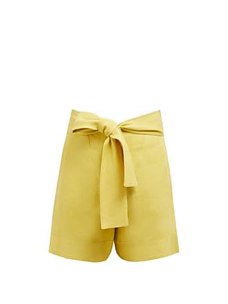 Zeus + Dione Minos High Rise Linen Shorts - Womens - Yellow