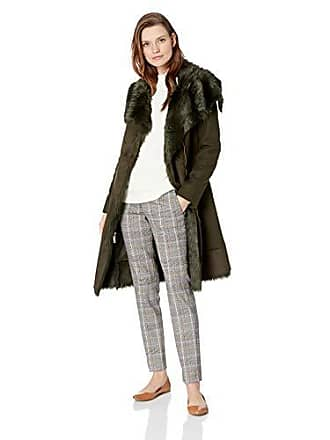 80b5c1f29d629 Vince Camuto Womens Wool Coat with Bonded Faux Fur Combo, Olive, Extra Large