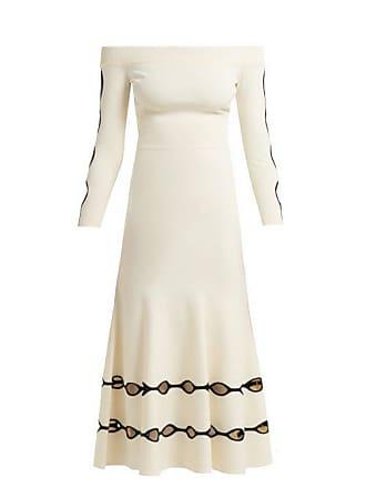 b02afb1a3721 Alexander McQueen Alexander Mcqueen - Off The Shoulder Eyelet Knit Dress -  Womens - White Black