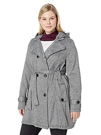Yoki Womens Plus Size Double Breast Long Fleece Jacket, Grey Melange, 3X