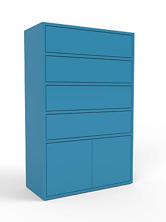 MYCS Kommode Blau - Lowboard: Schubladen in Blau & Türen in Blau - Hochwertige Materialien - 77 x 118 x 35 cm, konfigurierbar