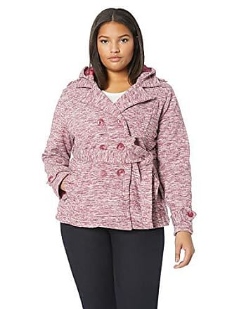 Yoki Womens Plus Size Double Breast Fleece Jacket, BUGUNDY Space DYE, 1X