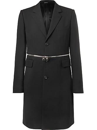 Alexander McQueen Slim-fit Zip-trimmed Wool-blend Coat - Black