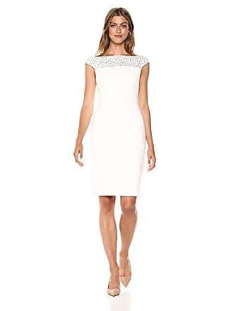 Calvin Klein Womens Embellished Cap Sleeve Sheath Dress, Cream, 14