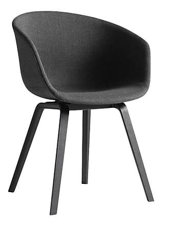 HAY About a Chair AAC 23 Armlehnstuhl Eiche schwarz - anthrazit/Stoff Remix 183/Gestell Eiche schwarz gebeizt/mit Kunststoffgleitern