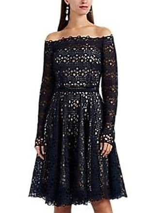 68b77cd595 Monique Lhuillier Womens Lace Off-The-Shoulder Dress - Navy Size 10
