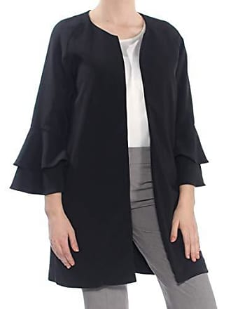 Kensie Womens Thick Stretch Twill Jacket with Tier Bell Sleeve, Black, M