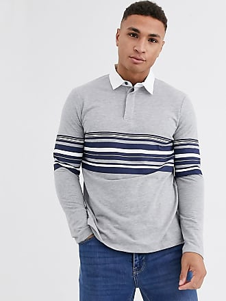 Burton Menswear polo with stripe in grey