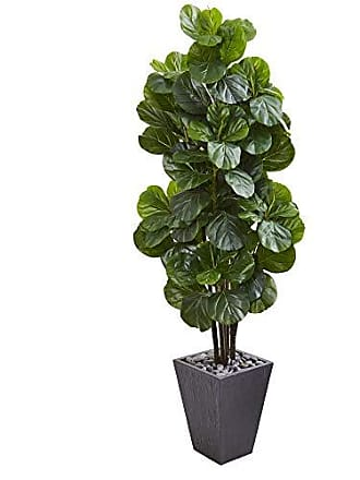 Nearly Natural 9752 6 Fiddle Leaf Fig Artificial Slate Planter Silk Trees Green