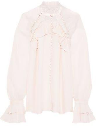 Jonathan Simkhai Jonathan Simkhai Woman Ruffle-trimmed Silk Crepe De Chine Blouse Pastel Pink Size XS